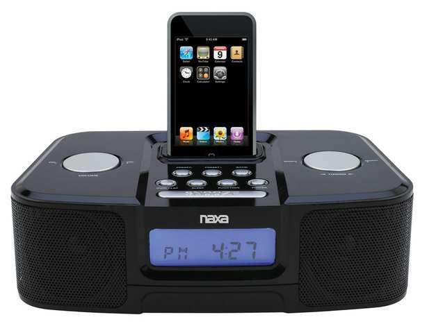 new naxa ni 3103b alarm clock am fm radio ipod docking station nx 3103 newe. Black Bedroom Furniture Sets. Home Design Ideas