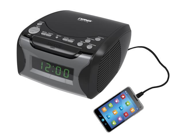 naxa dual alarm clock radio with cd player and usb charge port nrc 175 refurbished. Black Bedroom Furniture Sets. Home Design Ideas