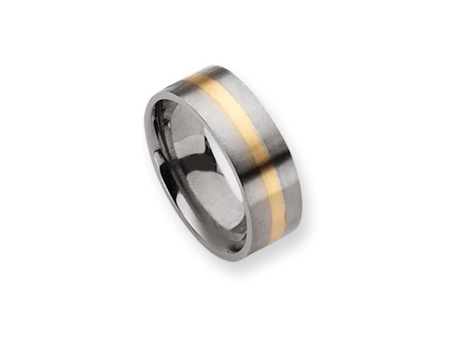 Titanium and 14K Gold, 8mm Flat Unisex Satin Finish Band - Size 12