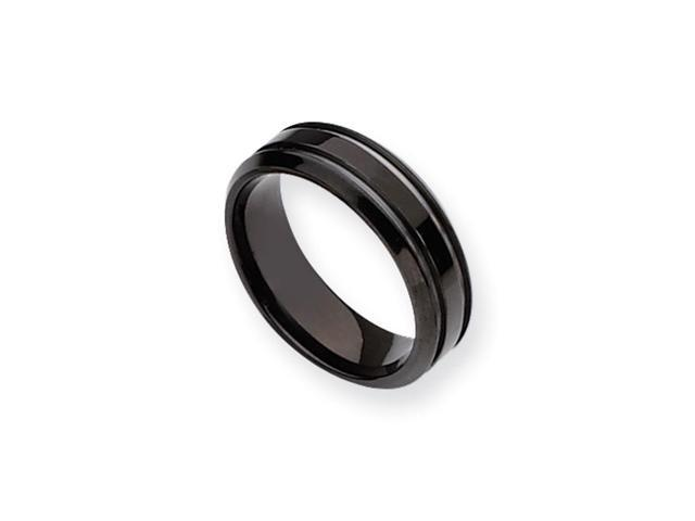 Black-Plated Titanium, 7mm Grooved Unisex Band - Size 11.5