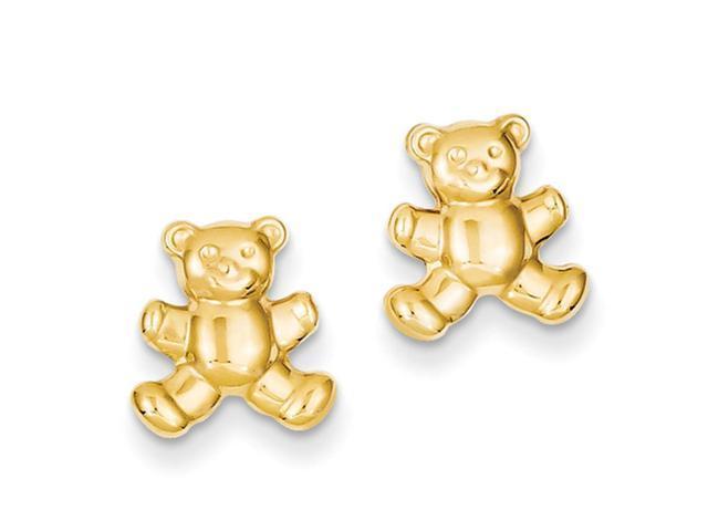 10mm teddy post earrings in 14 karat yellow gold