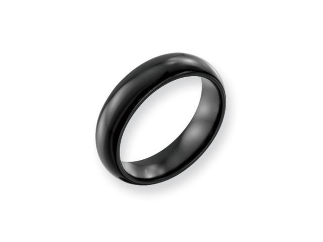 Black Titanium 6mm Polished Domed Band Size 10