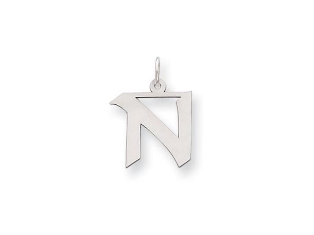 Sterling Silver Karlie Collection Artisan Block Initial Charm Letter N