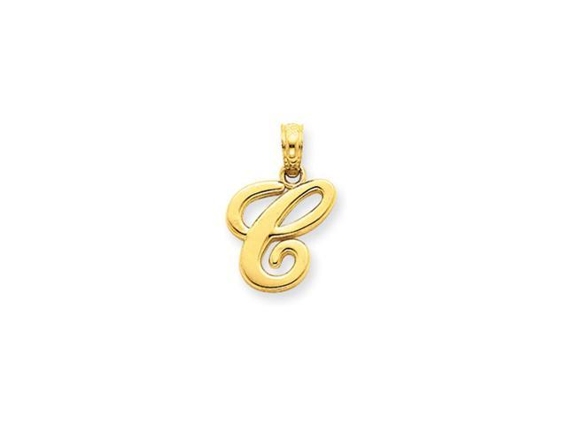 14k Yellow Gold, Mimi Collection, Script Initial Pendant, Letter C