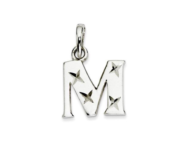 Sterling Silver, Sabrina Collection, D/C Initial Pendant, Letter M