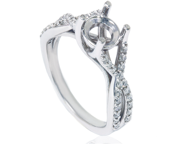 1/2ct Twist Diamond Ring Setting 14K White Gold