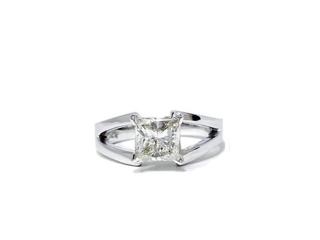 1ct Princess Cut Solitaire Enhanced Diamond Ring 14K White Gold High Polished