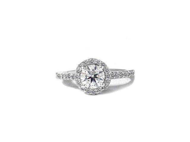 1 1/2ct Round Pave Halo Enhanced Diamond Ring 14K White Gold
