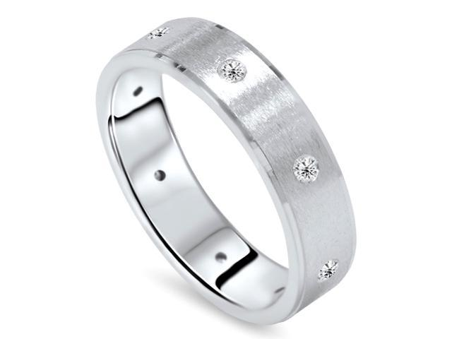 Mens 1/3ct Diamond Comfort Fit Wedding White Gold Ring