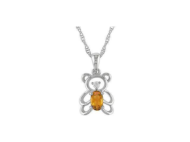 1/4Ct Gemstone Diamond Accent Teddy Bear Pendant 10Kt White Gold