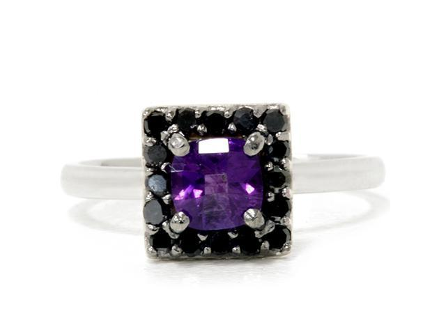 1 1/2ct Cushion Cut Halo Amethyst & Black Diamond Halo Engagement Ring 14K White Gold