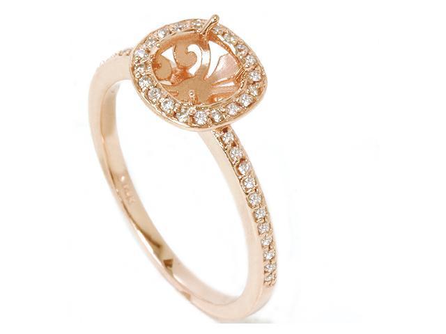1/3ct Diamond Engagement Halo Ring 14K Rose Gold Setting