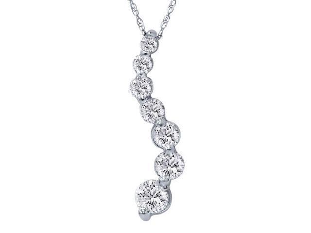 1 1/2ct Real Diamond Journey Pendant 14K White Gold New