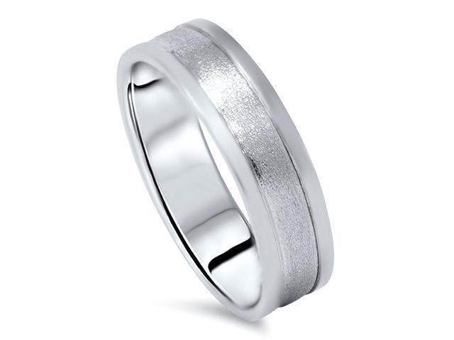 Mens 6MM Brush Wedding Band Ring 950 Palladium