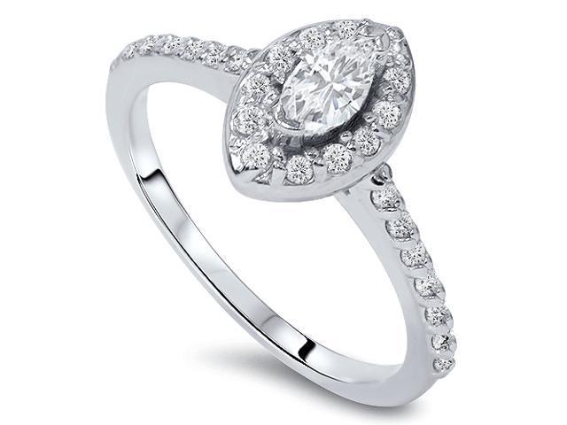 1/2ct Halo Marquise Diamond Engagement 14K White Gold Ring