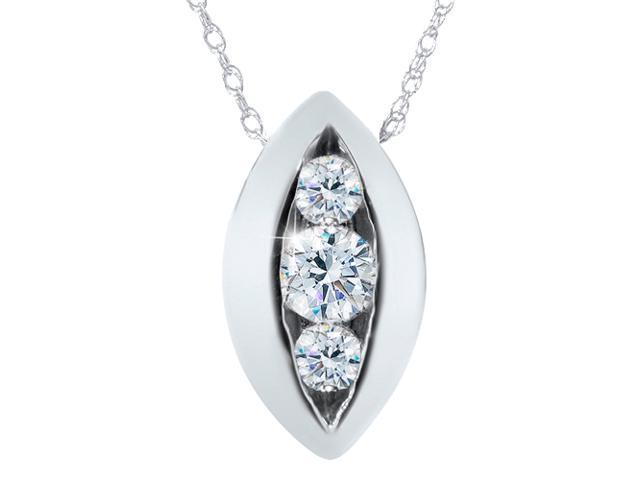 1/4ct Three Stone Past Present Future Diamond Pendant 14K