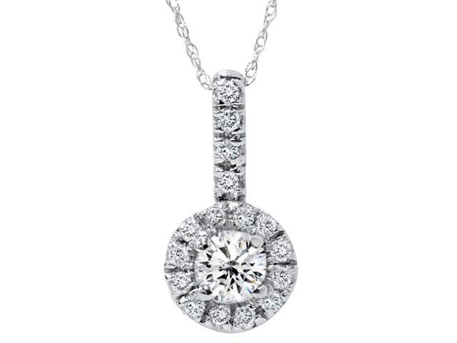 3/4Ct SI Pave Halo Solitaire Diamond Pendent