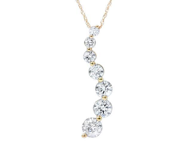 1/2ct Diamond Journey Pendant 14K Yellow Gold