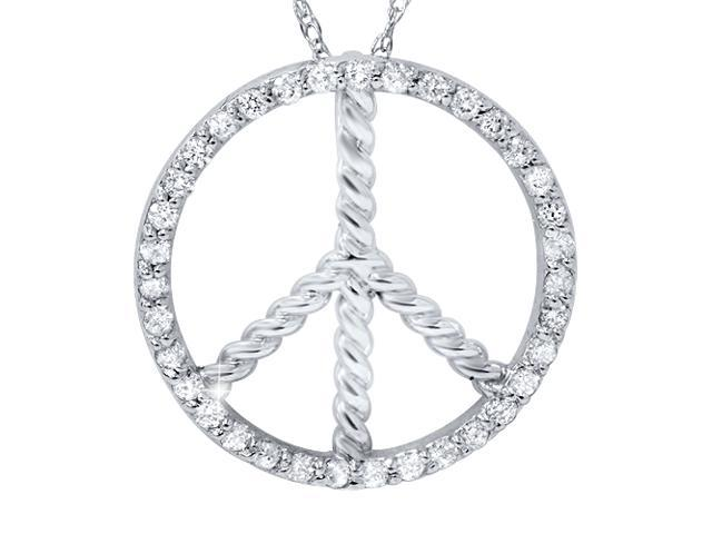 3/8ct Peace Diamond Pendant 14K White Gold