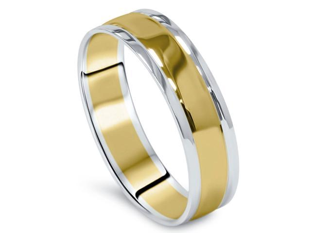 Mens 14K Gold Two Tone Plain Polished Wedding Band Ring