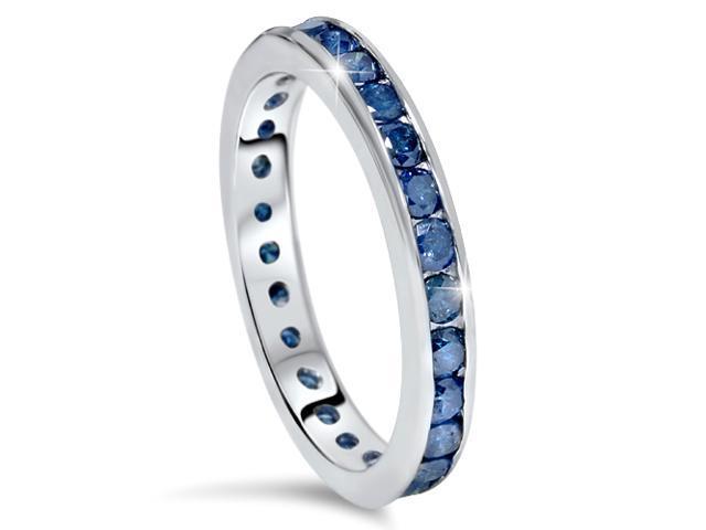 1 1/2ct Treated Blue Diamond Channel Set Eternity Ring 14K White Gold Women Band