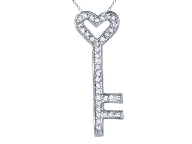 1/2ct Real Diamond 14K White Gold Key Pendant Necklace