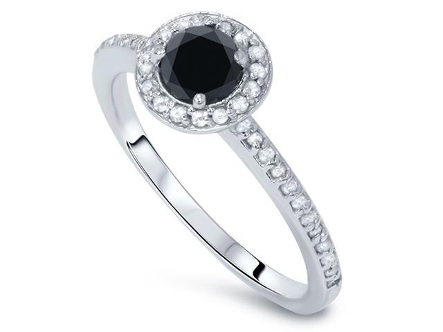 5/8ct Treated Black & White Diamond Halo Engagmeny Ring Solid 14K White Gold