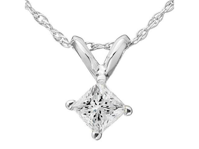5/8ct Princess Cut Solitaire Diamond Pendant 14K White Gold