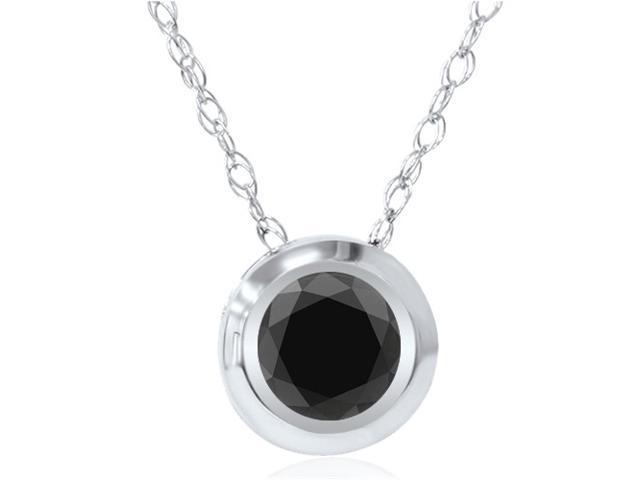 1/2ct Black Diamond Bezel Solitaire Pendant White Gold