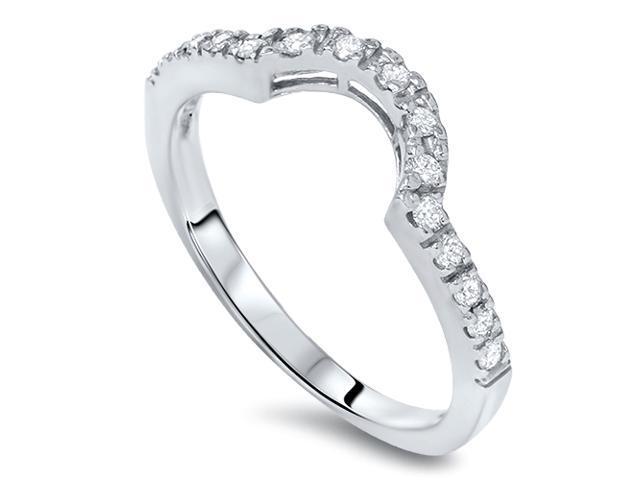 1/4ct Curved Diamond Notched Wedding Ring Enhancer 14K