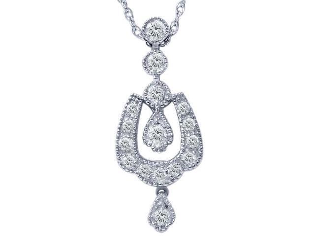 1/3ct Vintage Diamond Dangle Pendant 14K White Gold