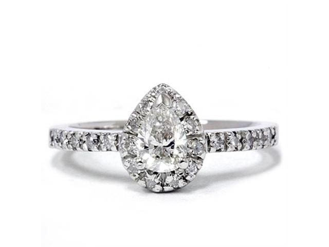 1/2ct Pear Shape Natural Diamond Engagement Ring 14K White Gold Solitaire