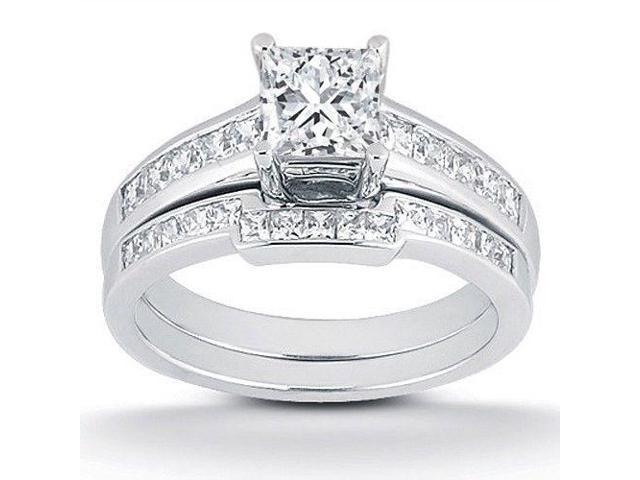 7/8ct Princess Cut Channel Set Diamond Wedding Engagement Ring 14K White Gold