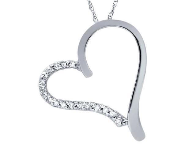 Diamond Heart Shape Pendant Necklace White Gold