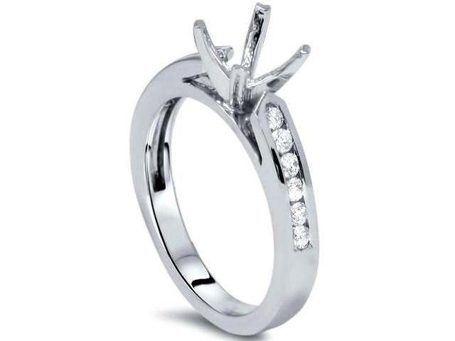 1/4ct Diamond Channel Set Mount Ring 14K White Gold