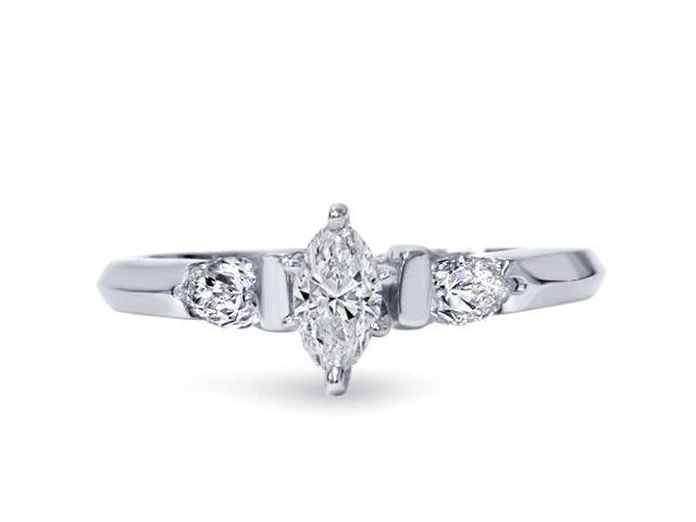 3/4ct Three Stone Diamond Ring 14K White Gold
