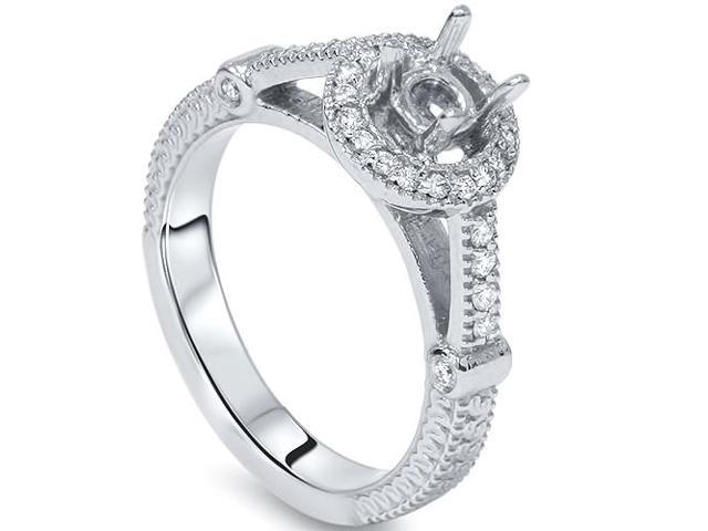 Women's .25CT Diamond Engagement Ring Setting Semi Mount Ring 14K White Gold