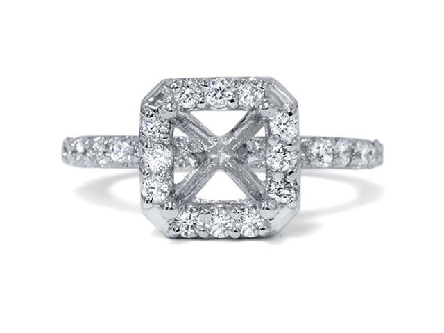 3/8ct Halo Diamond Ring 14K White Gold