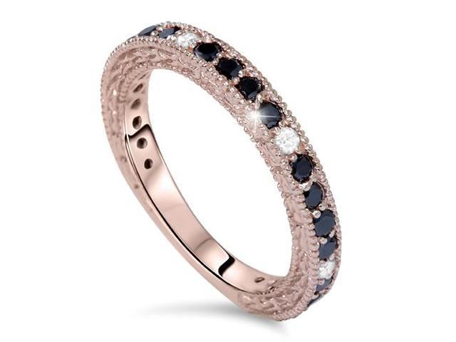 Pink Rose Gold 7/8ct Black White Diamond Wedding Ring