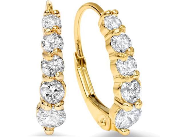 3/4ct Diamond Hoops 14K Yellow Gold