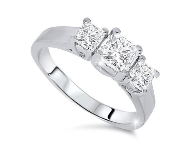 1 1/4ct Three Stone Diamond Ring 14K White Gold