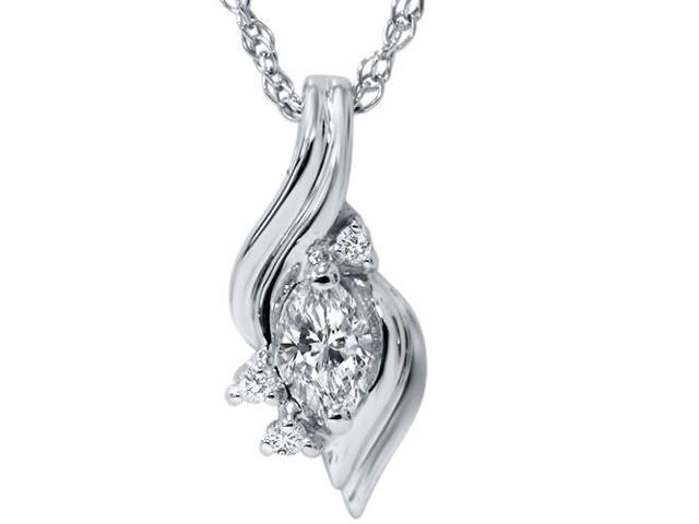 1/5ct Marquise Fancy Diamond Solitaire Accent Pendant 14K White Gold