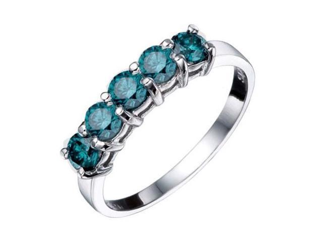 1/2ct Blue Diamond Wedding Ring 14K White Gold
