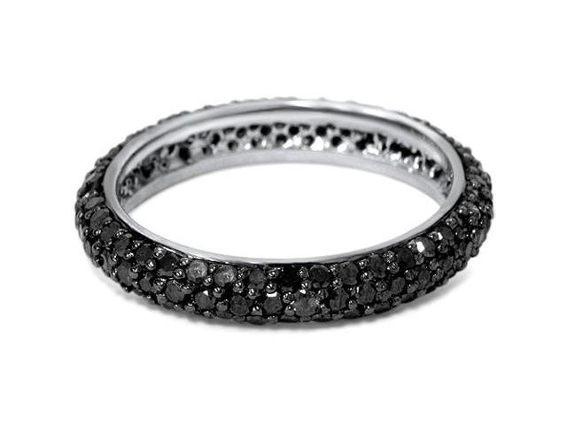 1 1/10ct Black Diamond Pave Eternity Ring 14K Gold