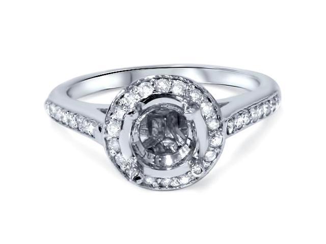 1/4ct SI Diamond Halo Semi Mount Engagement Ring 14K White Gold