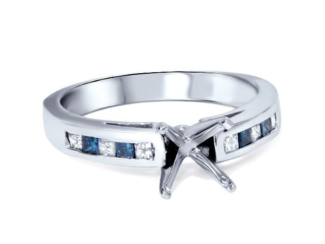 1/2ct Blue & White Diamond Princess Cut Cathedral Semi Mount Engagement Ring