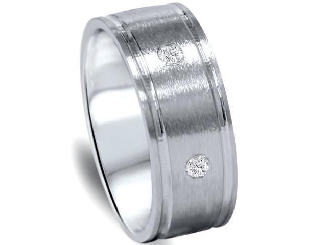 Mens 950 Platinum Diamond Brushed Wedding Ring Band
