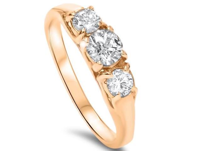 1ct Three Stone Diamond Ring 14K Yellow Gold