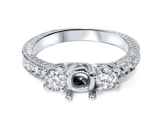 1/2Ct Diamond Engagement Ring Semi Mount Setting 14K White Gold