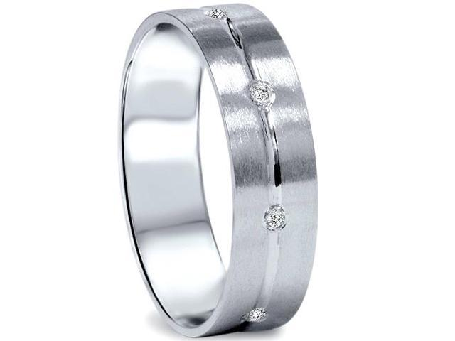 Mens Comfort Fit Bezel Diamond Wedding 14K Band Ring